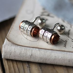 Copper And Silver Personalised Cufflinks - gifts for the groom