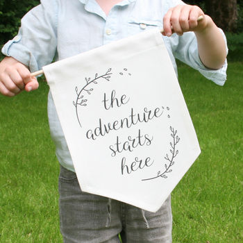 The Adventure Starts Here Page Boy Sign