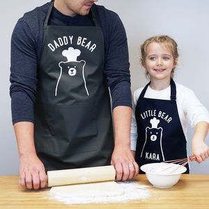 Personalised Daddy And Me Little Bear Apron Set - gifts for bakers