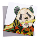 Panda Eating Bamboo Greetings Card
