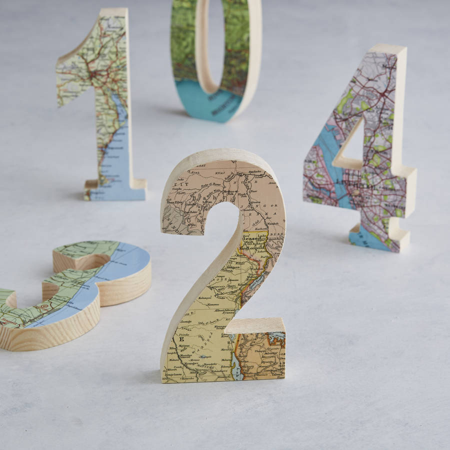 Personalised map location wooden wedding table numbers by for Table numbers