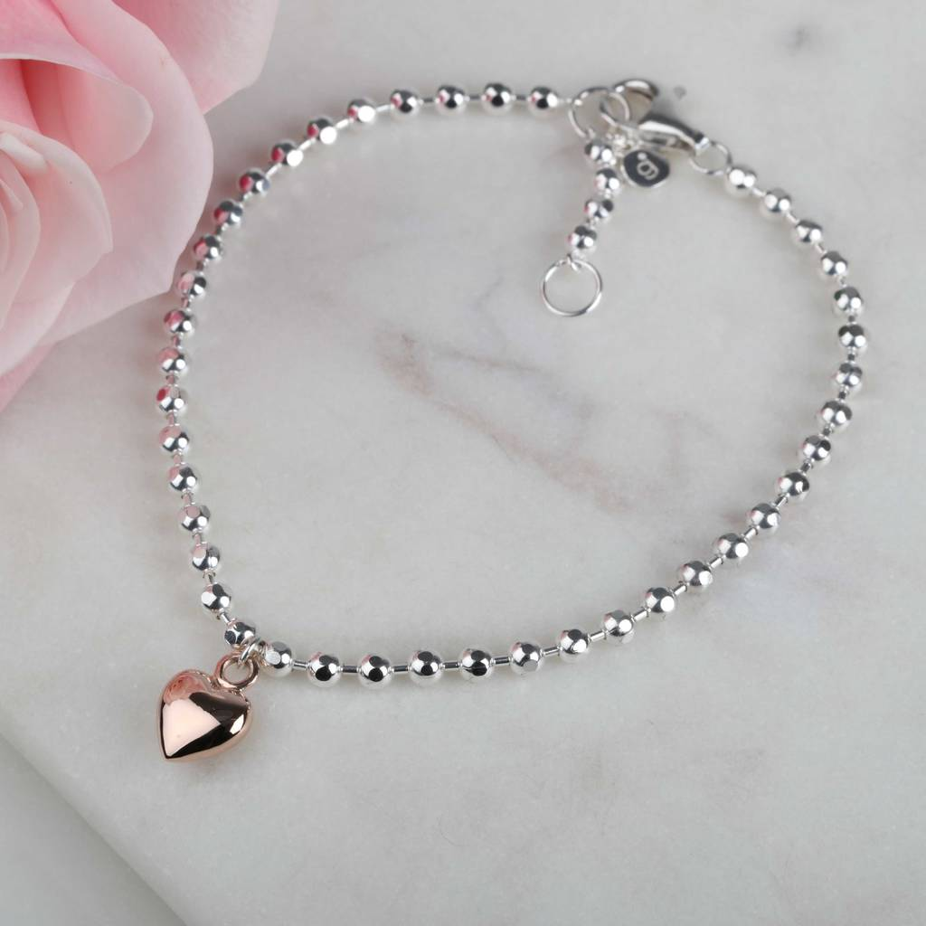 Beaded Solid Silver And Rose Gold Heart Bracelet