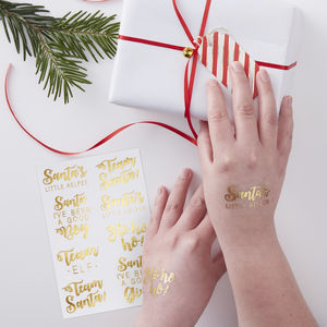 Gold Foiled Festive Tattoos Red And Gold - temporary tattoos