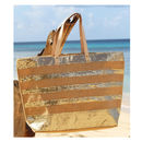 Large Gold Sequined Striped Jute Tote