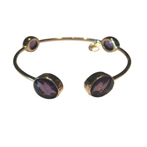 Amethyst Gold Bangle - bracelets & bangles