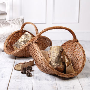 Set Of Two Buff Willow Log Baskets - new in garden
