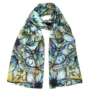 Atlas Moth Long Floral Silk Scarf In Ochre