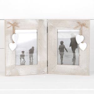 Double Wooden Photo Frame With Hanging Hearts