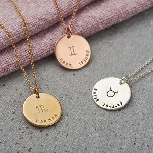 Personalised Large Zodiac Disc Necklace - zodiac gifts