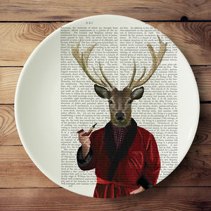 Deer In Smoking Jacket Serving Platter - tableware