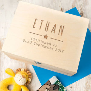 Baby Boys Personalised Christening Keepsake Box - storage & organisers
