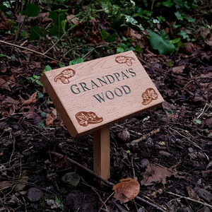 Personalised Engraved Oak Plaque With Stake