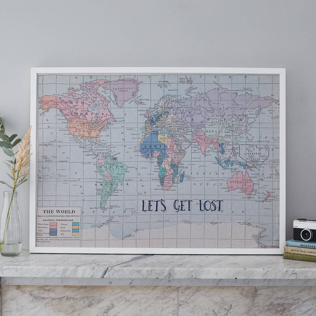 u0027Lets Get Lostu0027 Fabric World Map Noticeboard
