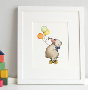 Bicycle Bear Print - nursery pictures & prints