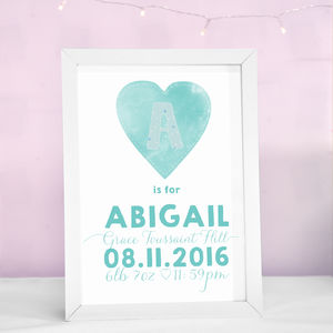 Personalised Heart Print - baby's room