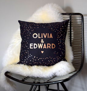 Personalised Rose Gold And Silver Geometric Cushion - cushions