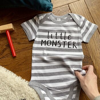 Personalised 'Little Monster' Halloween Babygrow