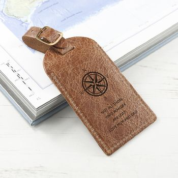 Engraved Natural Tan Leather Luggage Tag