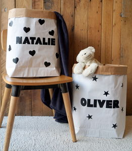 Personalised Name Paper Storage Bag