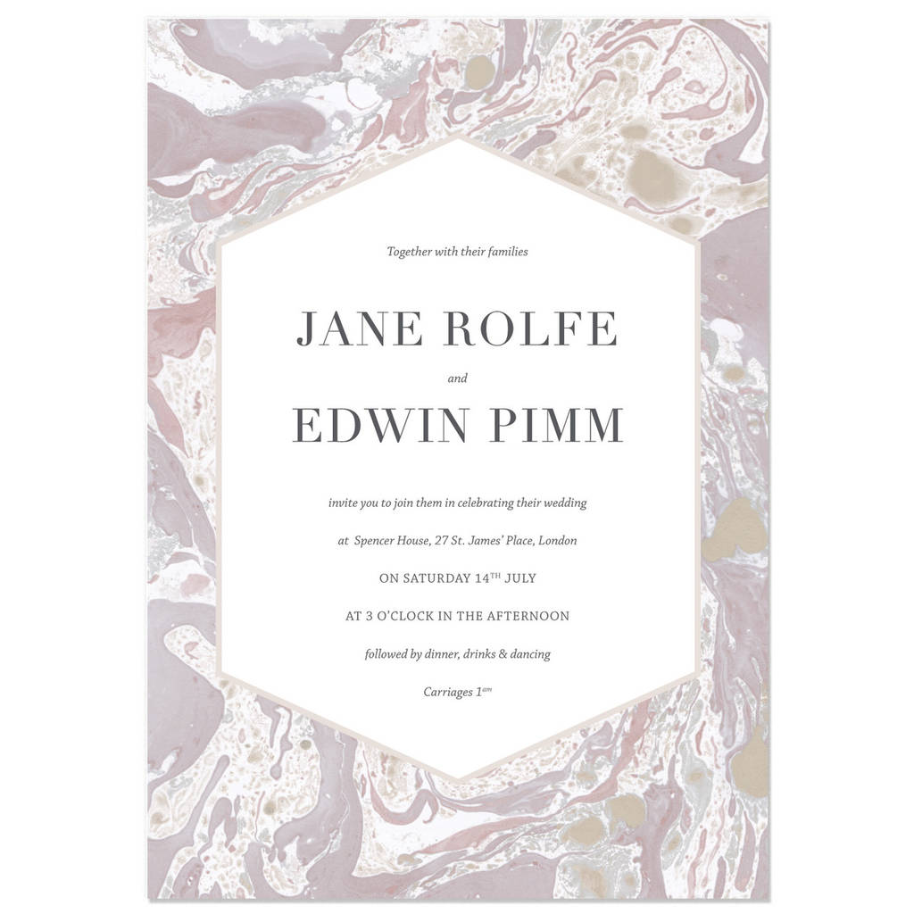 grey and pink marbled wedding invite sample by hollyhock lane ...