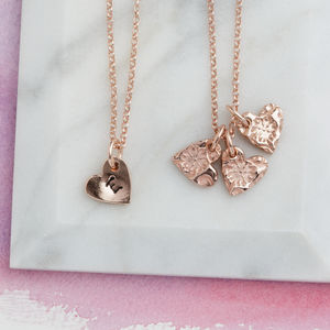 Personalised Rose Gold Floral Hearts Pendant - women's jewellery