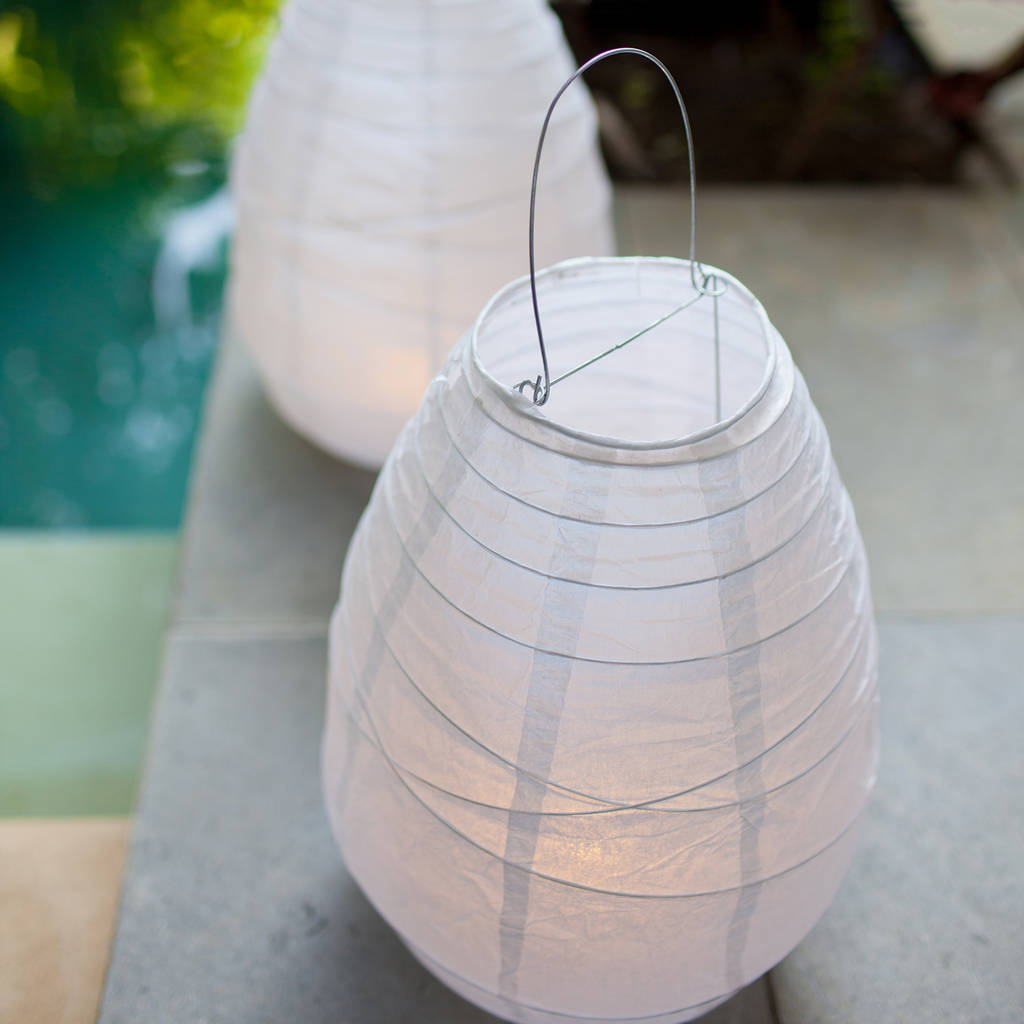 Pair Of Battery Led Paper Lantern Lights