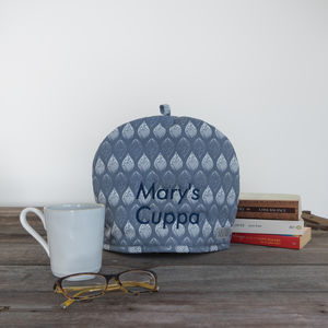 Personalised Embroidery Isabella Blue Tea Cosy - tea & coffee cosies