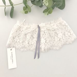 Lace Wedding Garter With Blue Ribbon Bow