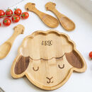 Personalised Lamb Bamboo Plate Set