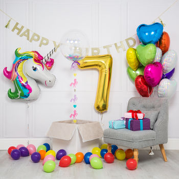 Inflated Rainbow Unicorn Birthday Morning Package