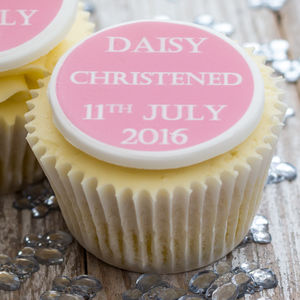 Personalised Christening Cupcake Toppers