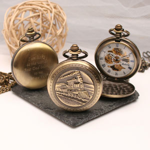 Engraved Bronze Pocket Watch Train Design