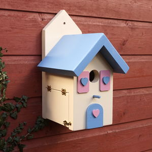 Handcrafted Pink And Blue Bird House - birds & wildlife