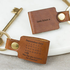 Personalised Leather Grandad Keyring 'Day You Became…' - for grandfathers