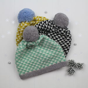 Triangle Knitted Pom Pom Hat - hats