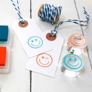 Happy Face And Wink Face Emojis Clear Rubber Stamps - whatsnew