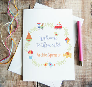 Personalised Welcome To The World Card For New Baby - new baby cards
