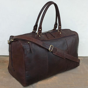 Large Handmade Brown Leather Holdall Travel Bag Gym Bag - womens