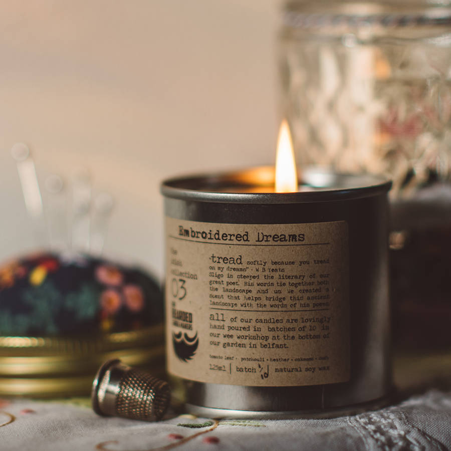 Embroidered Dreams Hand Poured Candle