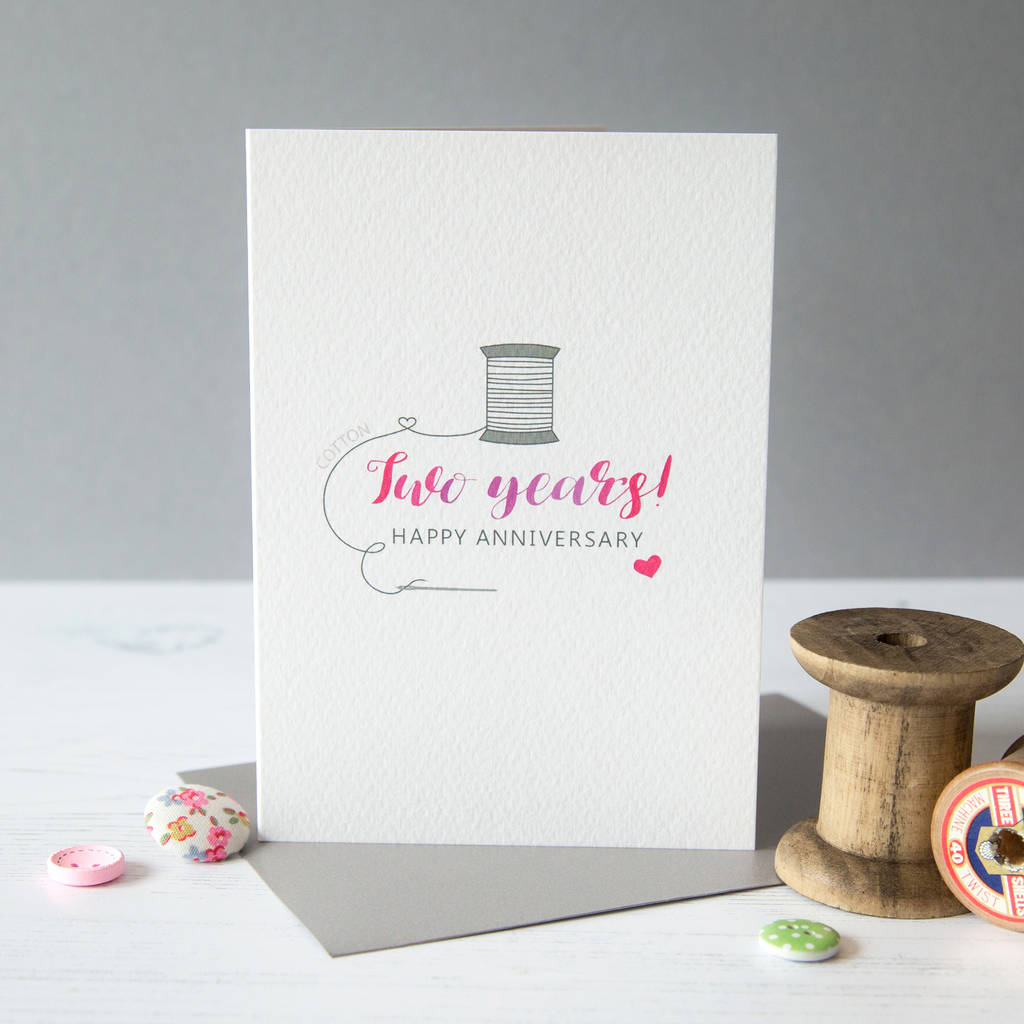 Gifts For A Second Wedding: Second Wedding Anniversary Card Cotton By Miss Shelly