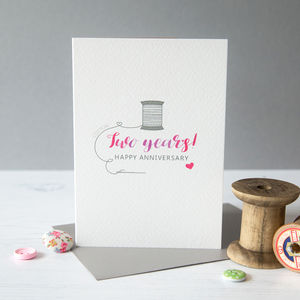 Second Wedding Anniversary Card Cotton - shop by category
