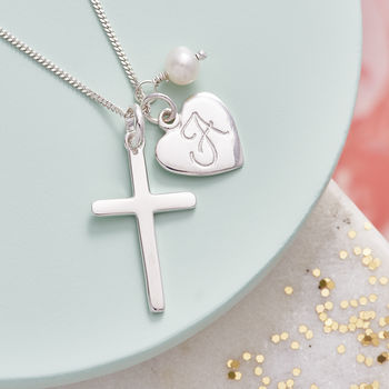 Silver Cross Birthstone Personalised Necklace - White Fresh Water Pearl Birthstone