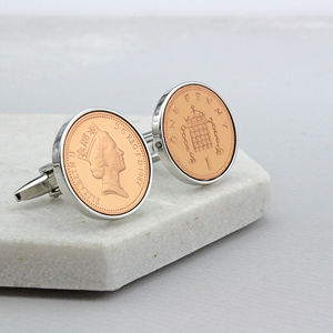 Thirtieth Birthday 1987 One Pence Cufflinks - men's accessories