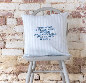 Personalised Embroidered Cushion Ledbury Blue Grey - personalised cushions