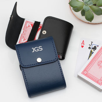 Personalised Leather Playing Card Holder And Cards