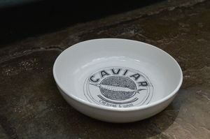 Porcelain Cat Bowl With Caviar Design - food, feeding & treats