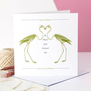 Personalised Valentine Card; Kissing Flamingoes