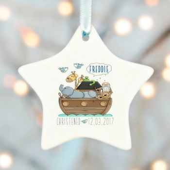 Christening Boys Girls Noah Ark Ceramic Star