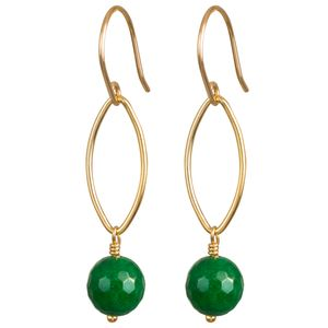 Gold Or Silver Green Onyx Drop Earrings - earrings