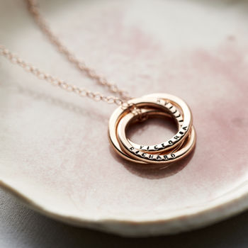 Personalised Rose Gold Russian Ring Necklace